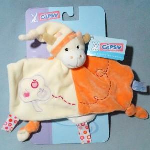 Vache GIPSY doudou carré plat beige et orange pommier