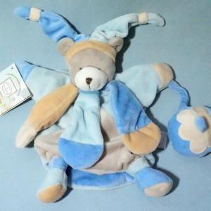Ours DOUDOU ET COMPAGNIE marionnette bleu poudré Le Collector
