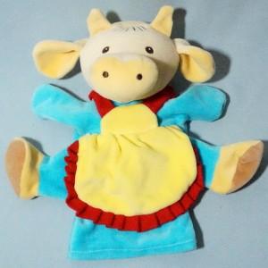 Vache NOUNOURS doudou marionnette robe bleu tablier jaune