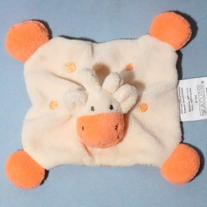 Girafe BABOU doudou plat orange