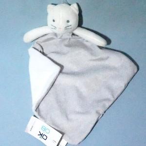 Chat OBAIBI doudou carré plat gris et blanc