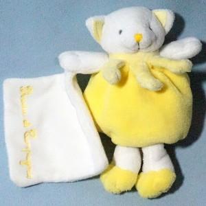 Chat DOUDOU ET COMPAGNIE jaune avec doudou carré blanc Cueillette
