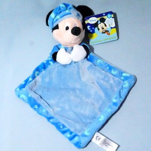 Mickey DISNEY NICOTOY sos doudou carré plat bleu Brille dans la nuit