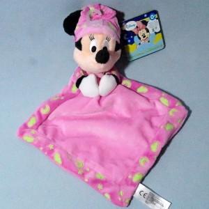 Minnie DISNEY NICOTOY (Gémo, Kiabi) sos doudou carré plat rose Brille dans la nuit