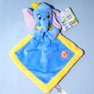 Eléphant Dumbo DISNEY NICOTOY (Gémo, Kiabi) sos doudou carré plat bleu et jaune