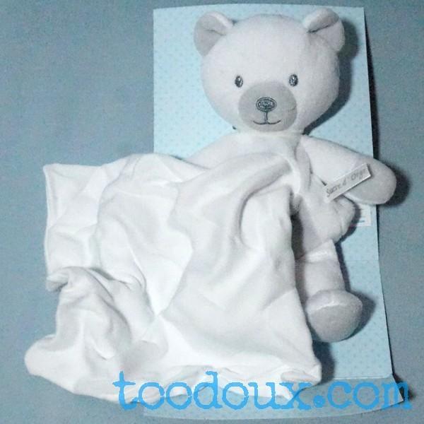 ours SUCRE D'ORGE doudou Cajou gris mouchoir blanc