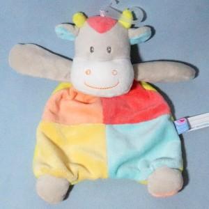Vache SUCRE D'ORGE doudou plat multicolore