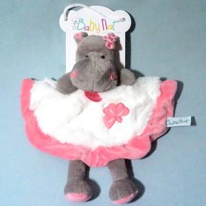 Hippopotame BABY NAT doudou plat rose et blanc Zoé