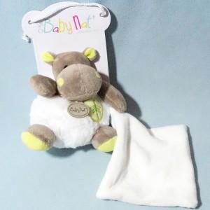 Hippopotame BABY NAT doudou boule Bazile avec carré plat