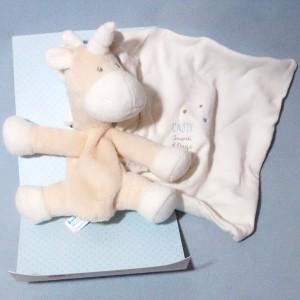 licorne SUCRE D'ORGE doudou Cajou beige mouchoir blanc