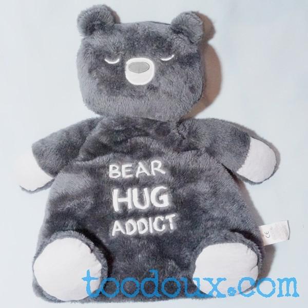"""Ours GRAIN DE BLE Génération Z doudou gris """"Bear Hug Addict"""""""