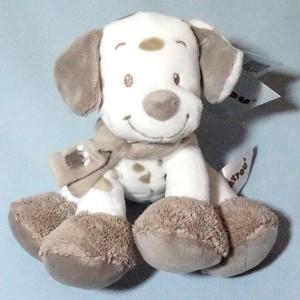 Max le chien NATTOU doudou peluche beige et blanc