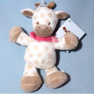 Charlotte le girafe NATTOU doudou peluche beige foulard rose