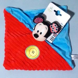 Mickey DISNEY NICOTOY (Kiabi) sos doudou carré plat rouge