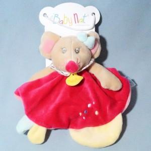 Rosie la souris BABY NAT doudou rond plat rose
