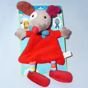 Chien EBULOBO doudou Gustave le clown plat rouge