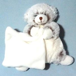 Ours Baby Nat' doudou marron mouchoir carré blanc Les Flocons BN749