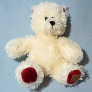 Ours BEAUTY SUCCESS doudou blanc et rouge