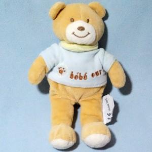 """Ours AMTOYS doudou beige """"bébé ours"""""""