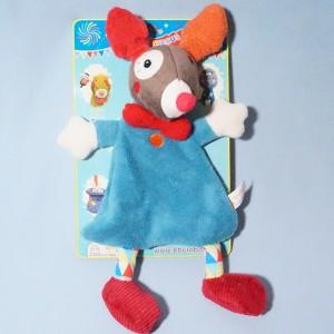 Chien EBULOBO doudou Gustave le clown plat bleu