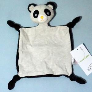 Panda VERTBAUDET doudou plat gris et noir