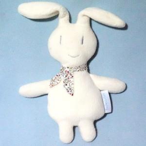 Lapin TROUSSELIER doudou blanc écru foulard