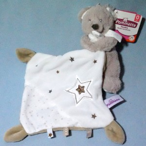 Ours POMMETTE doudou beige et blanc étoile