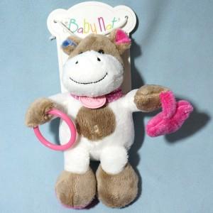 vache BABY NAT' blanche et beige avec anneau et coeur rose