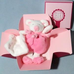 Souris DOUDOU ET COMPAGNIE rose carré plat blanc Cueillette
