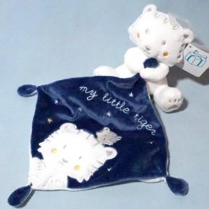 Tigre SIMBA KIABI Nicotoy doudou blanc et bleu marine My Little Tiger