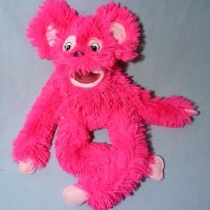 Chien (ou singe ?) OH! STUDIO sos doudou marionnette Piloo Piloo rose