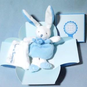Lapin DOUDOU ET COMPAGNIE bleu carré plat blanc Cueillette