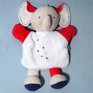 éléphant SUCRE D'ORGE doudou marionnette blanc et rouge