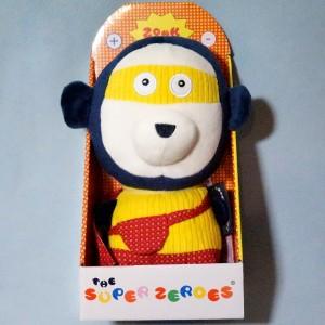 """""""Zonk"""" le singe SUPER ZERO Les DEGLINGOS peluche jaune"""
