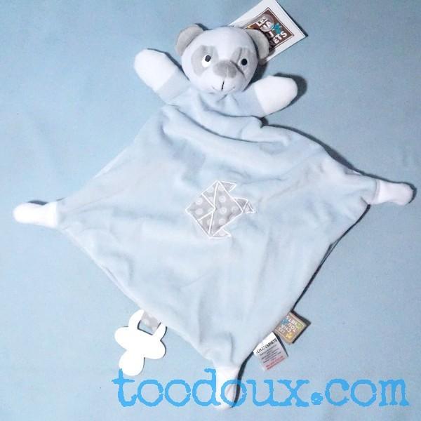 Panda LES CHATOUNETS sos doudou carré plat bleu