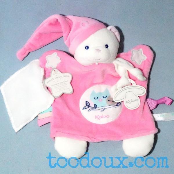 Ours KALOO doudou marionnette plat rose