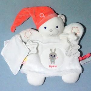 Ours KALOO doudou marionnette plat blanc