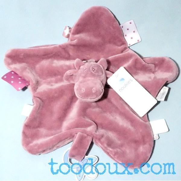 Vache NOUKIES doudou plat Lola rose violet