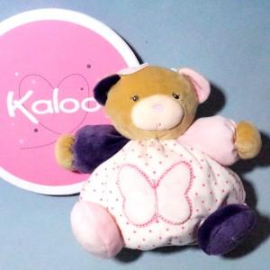 Ours KALOO doudou boule Petite Rose papillon