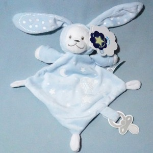 Ours NICOTOY SIMBA doudou plat bleu capuche lapin oiseau luminescent