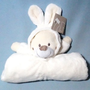 Couverture GEMO doudou ours lapin blanc