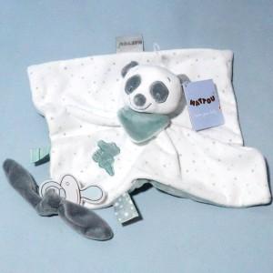Loulou le panda NATTOU doudou carré plat blanc et vert