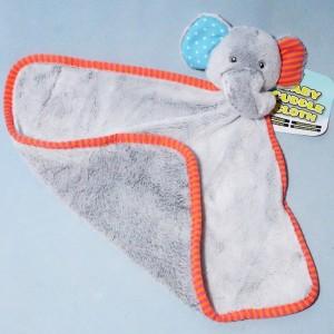 Eléphant BABY CUDDLES doudou ACTION carré plat gris