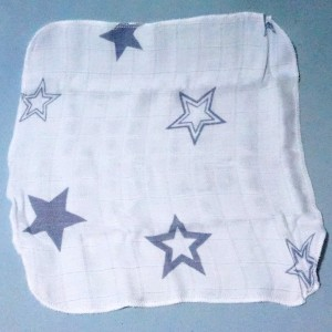 lange XKKO  petit doudou plat blanc 30 cm étoiles