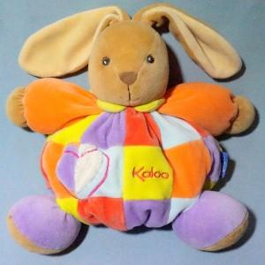 Lapin KALOO doudou boule patchwork multicolore coeur