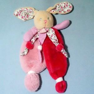 "Lapin BABY NAT doudou plat rose et fleurs ""Poupi"""
