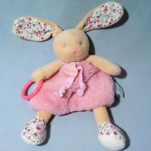 "Lapin BABY NAT doudou hochet plat rose et fleurs ""Poupi"""