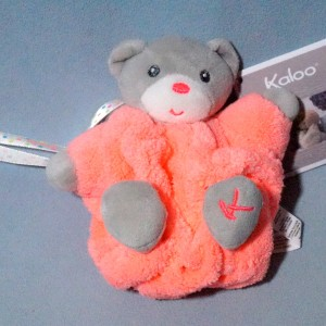 Ours KALOO doudou boule Néon Plume orange PM