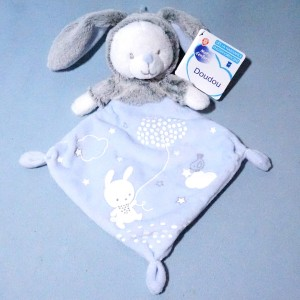 Lapin MOTS D'ENFANTS doudou plat bleu luminescent