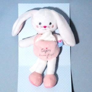 Lapin SUCRE D'ORGE doudou cajou rose mouchoir blanc